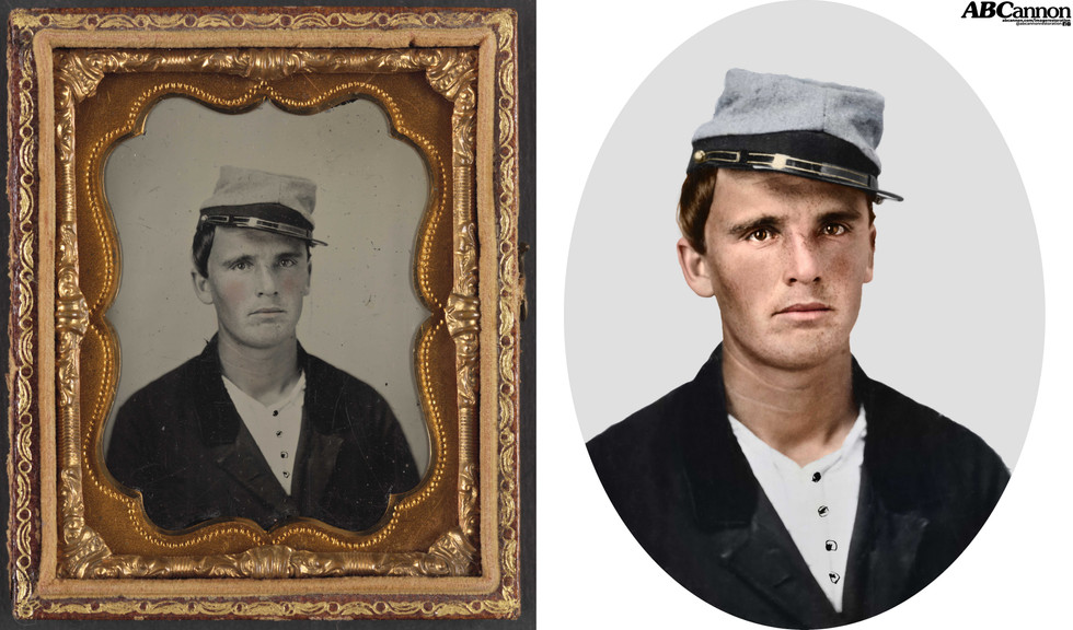 Unidentified soldier in Confederate artillery uniform and kepi