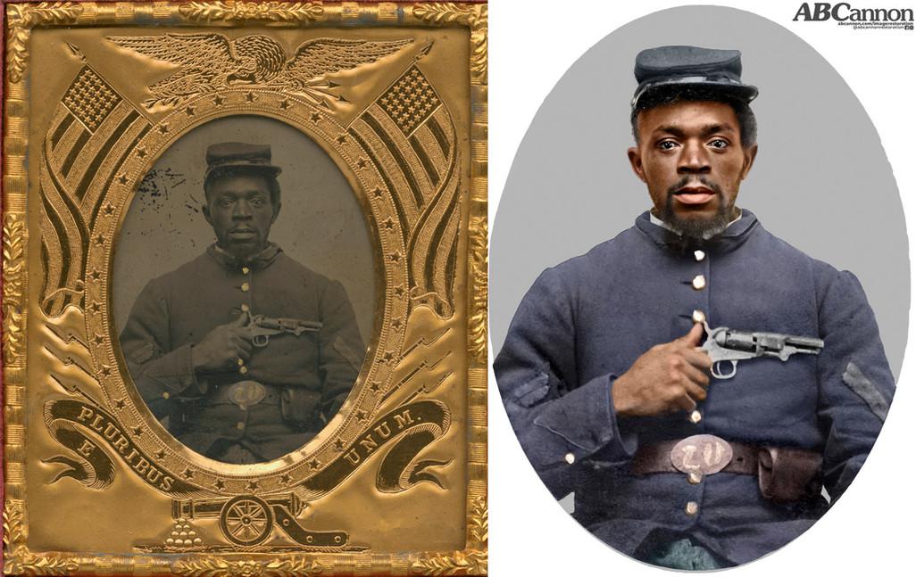 Circa 1865 portrait of African-American Civil War Soldier