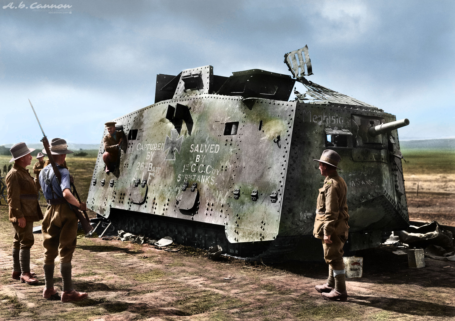 "WWI Australian Army Troops capturing a ruined German A7V tank ""Mephisto"", 1918"