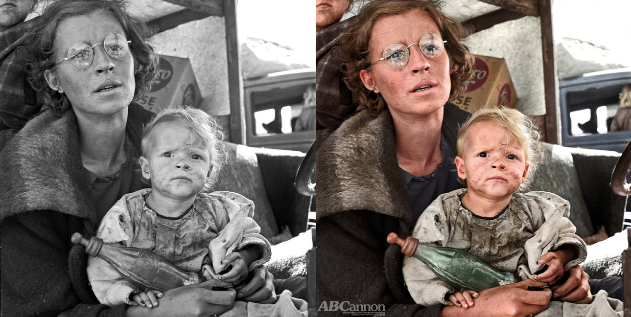 dorothea-lange-mother-and-baby colorized