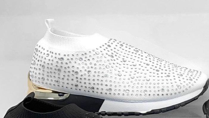 Crystal White Sock Sneakers