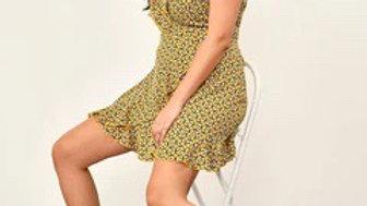 Mustard V-Neck Wrap Frill Dress
