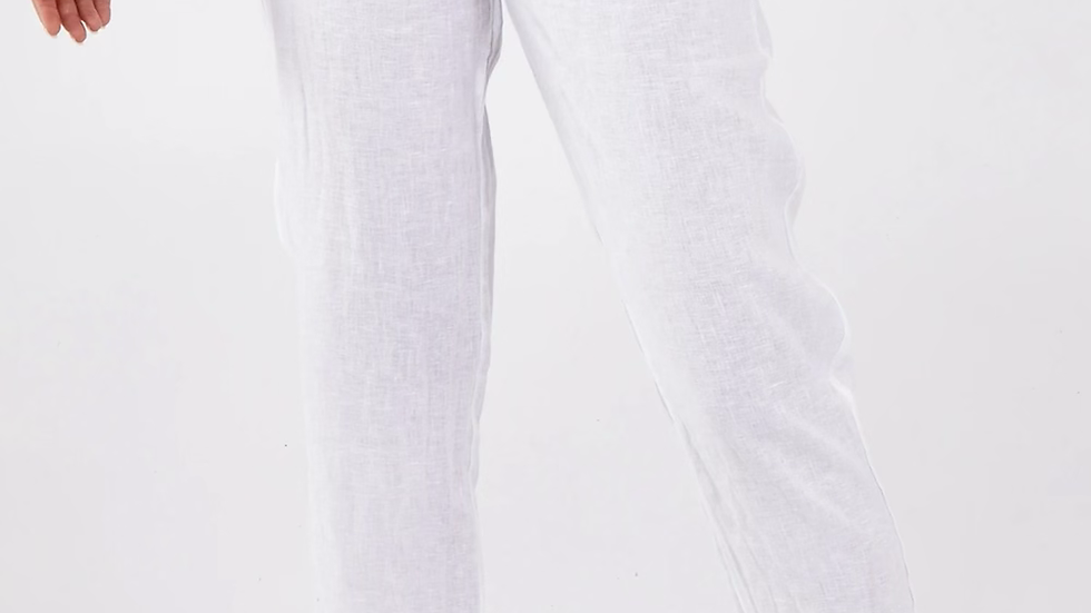 Washed Linen White Drawstring Trousers