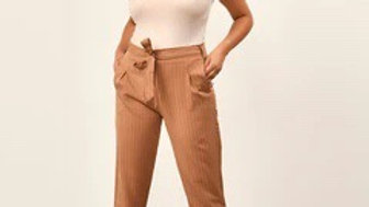 Rust Pinstripe Belted Trousers