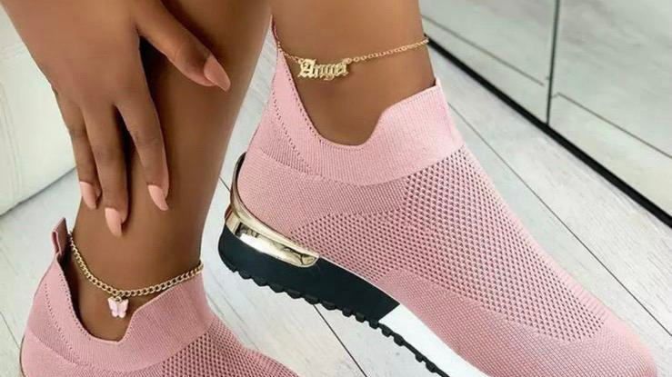 Pink Slip On Knitted Sock Trainers