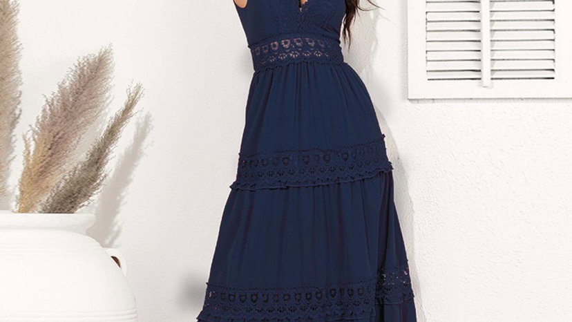 LooBees Lace Detail Navy Long Dress