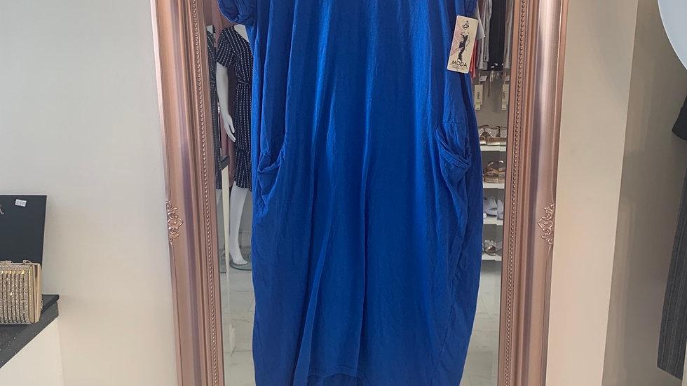 Royal Blue Pocket T Shirt Dress