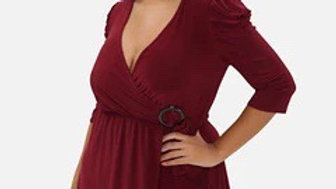 Berry Gathered Shoulder Wrap Dress