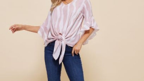 LooBees Signature Print Blouse - Pink