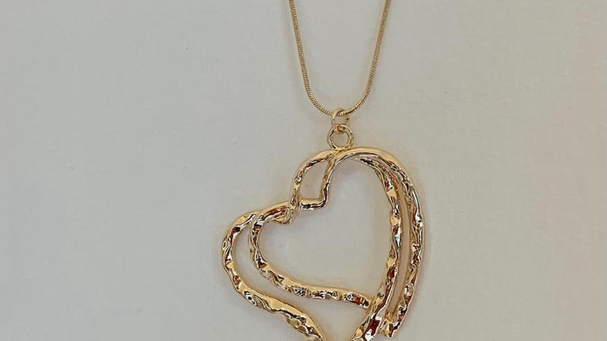 Interlocking Hearts Long Chain Necklace