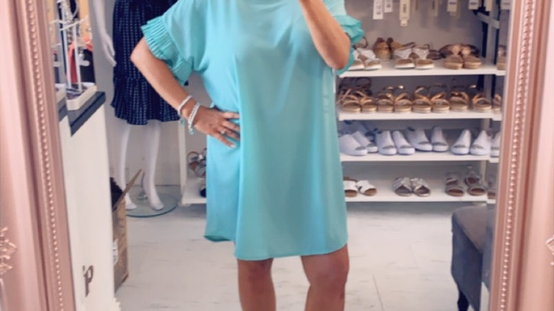 Turquoise Shift Frill arm Dress