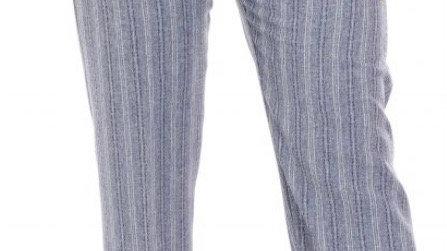 Pinns Navy & White Linen Look Stripe Trousers