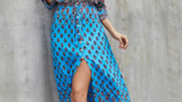 Boho Paisley Floral Summer Dress In Topaz Blue