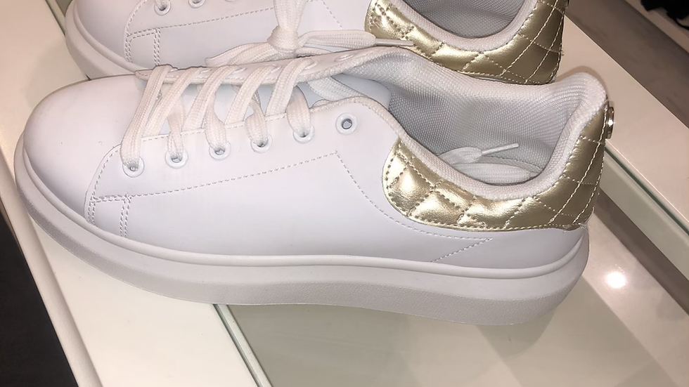 White & gold back trainers