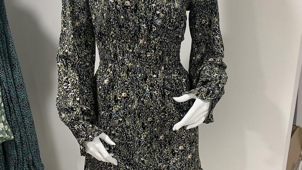 Long Sleeve Mini Dress in Green Floral Print