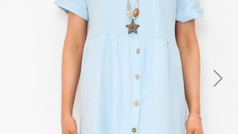 Light Blue  Tshirt Dress with Buttons