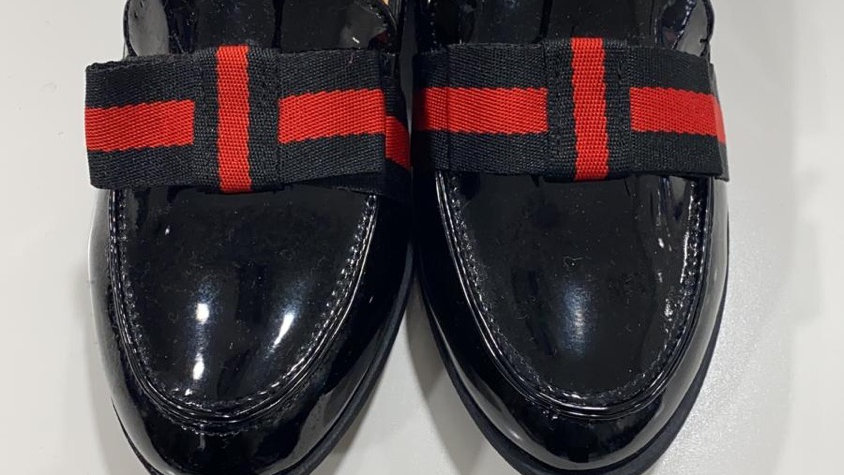 Black red patent loafers