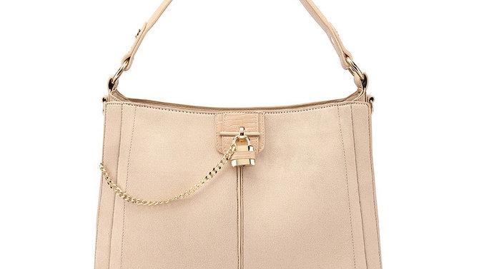 Designer Inspired Leather Bag - Nude