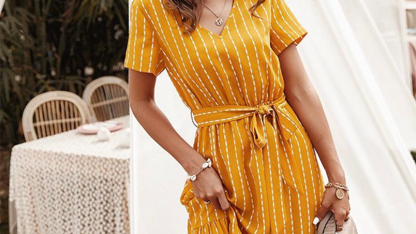 LooBees Yellow Patterned Dress