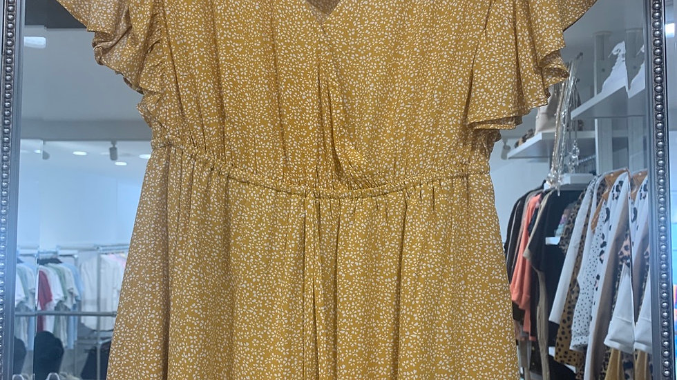 LooBees Wrap Frill Arm Summer Dress - Yellow