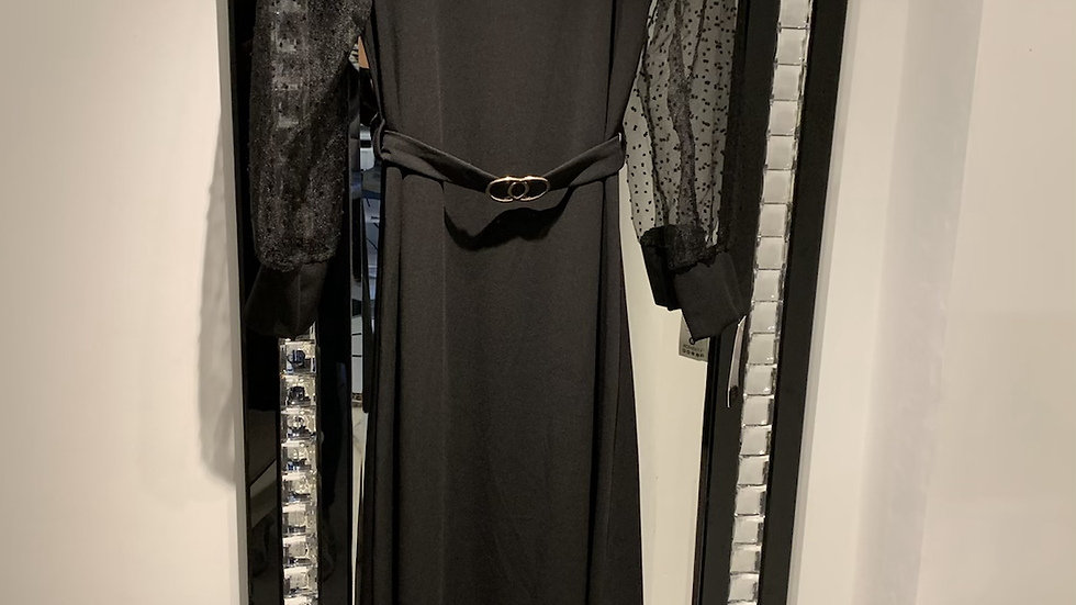 Long Black Sheer Arm Dress