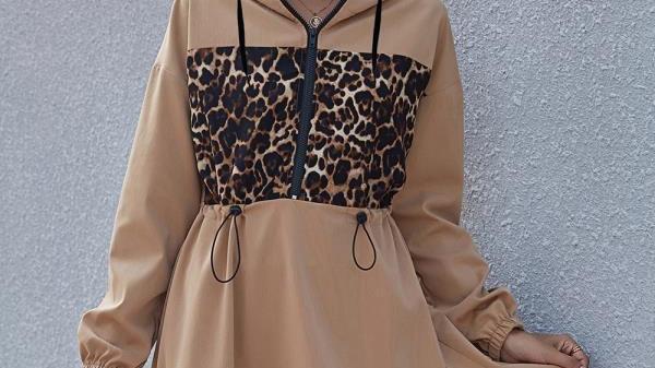 Loobees Jacket Dress - Beige with leopard print