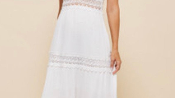 LooBees Lace Detail White Long Dress