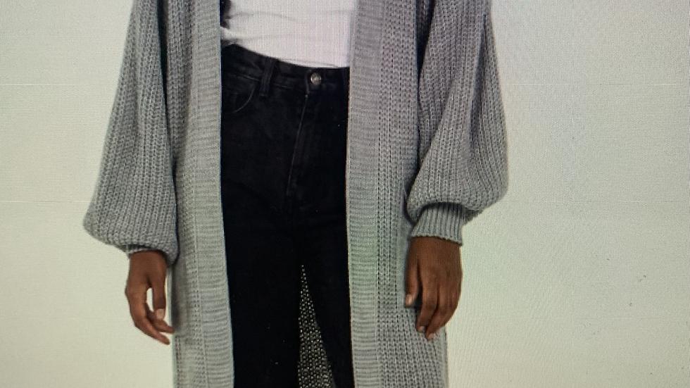 Long Grey Wooly Cardigan