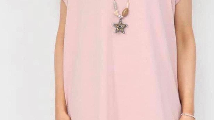Blush Necklace Tshirt Dress