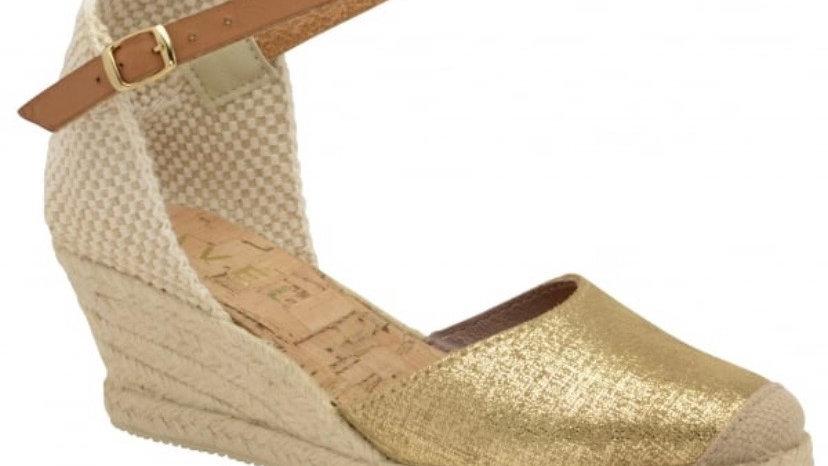 Ravel Etna Metallic Espadrille Leather Wedge Sandal