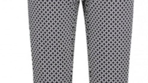 Pinns Buttercup Slim Leg Navy & White Geometric Trousers