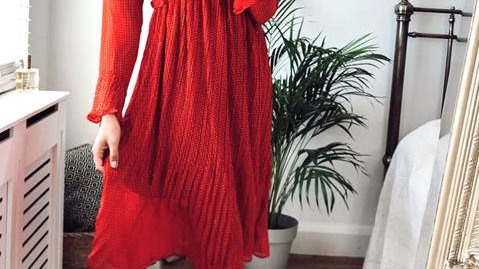Pleated Red Button Through Bell Sleeve Midi Dress