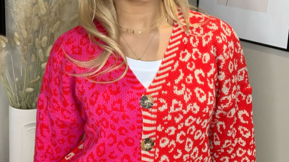 Dollie Mixed Print Button Cardigan Red/Pink