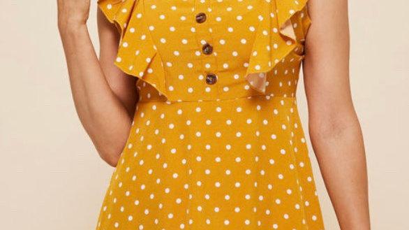 LooBees - Polka Dot Tiered Ruffle Trim Dress - LB13