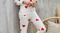 Lovely Red Heart Print Loungewear Co Ord Set In White