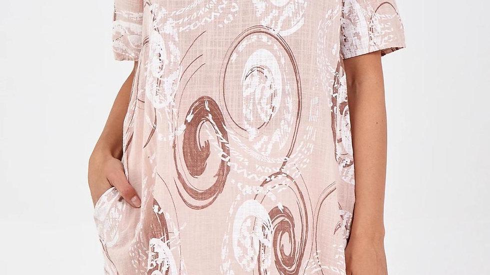 Oversized Pink Swirl Pattern Linen Top