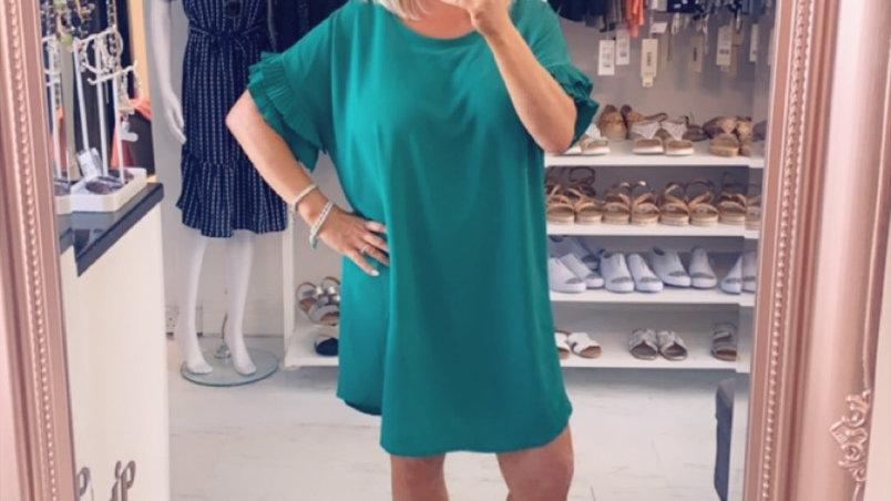Green Shift Ruffle Dress