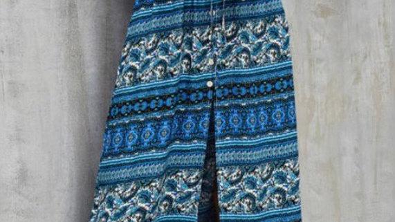 Boho Blue Paisley Floral Summer Dress