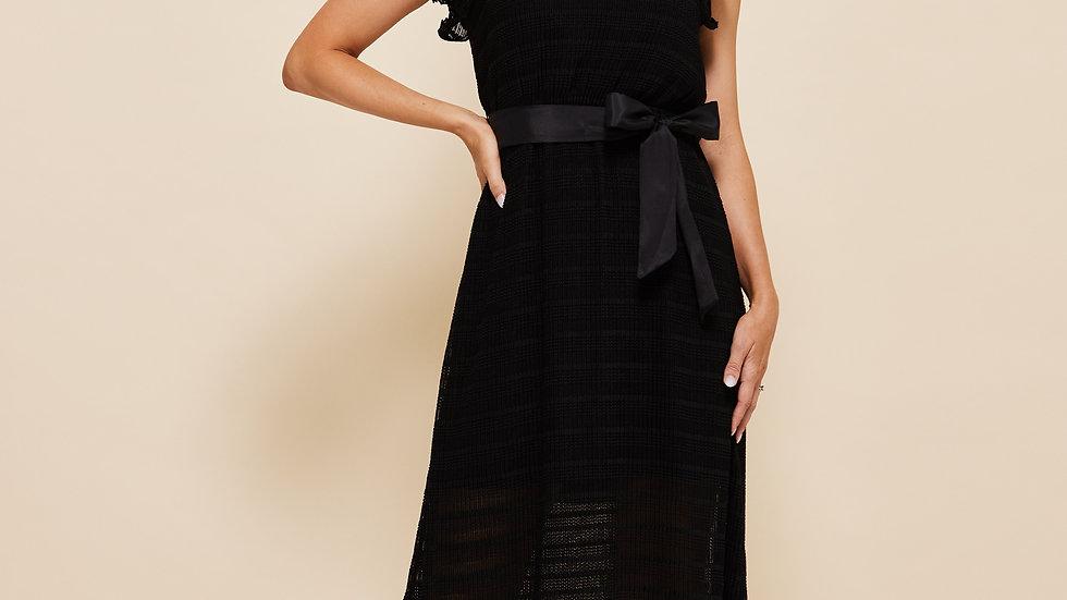 LooBees Long Black Bow Detail Dress