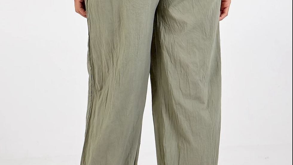 Button Pocket Detail Harem Pants Kahki
