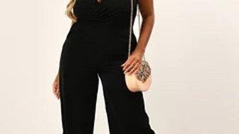 Black Cowl Wrap Jumpsuit