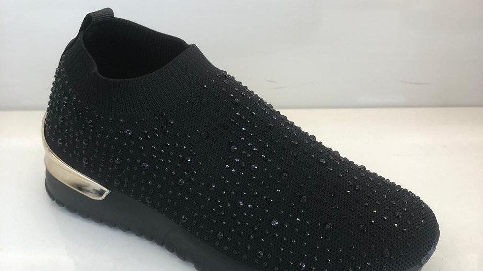 Crystal Black Sock Sneakers