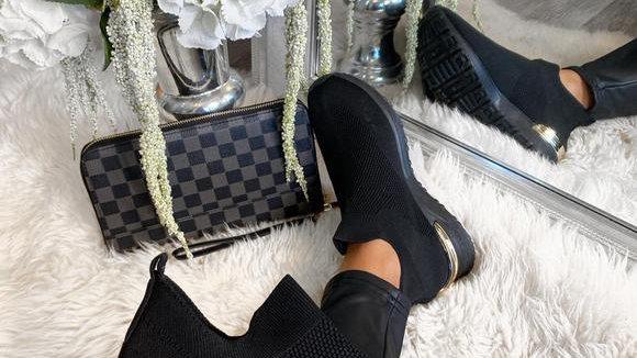 Ladies Sock Trainers Sneakers Slip On  Pumps - Black