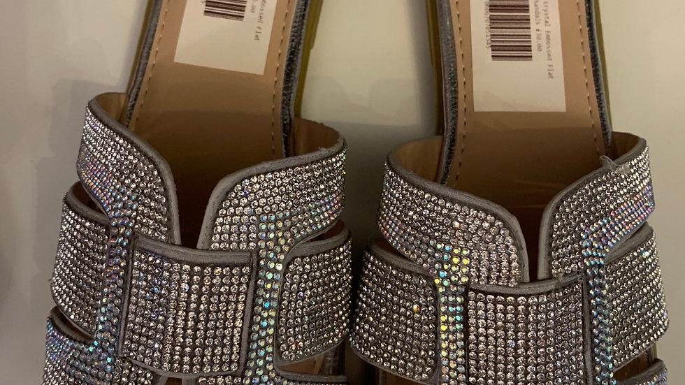 Crystal Encrusted Flat Sandals