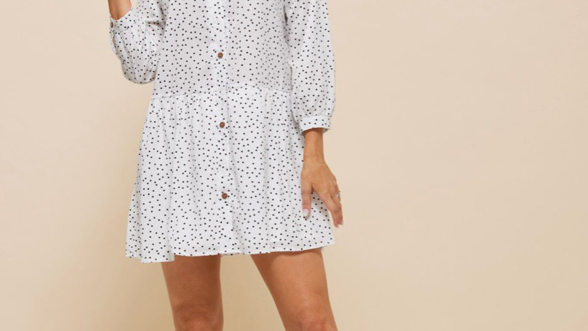 LooBees White Spotted Smock Dress LB06