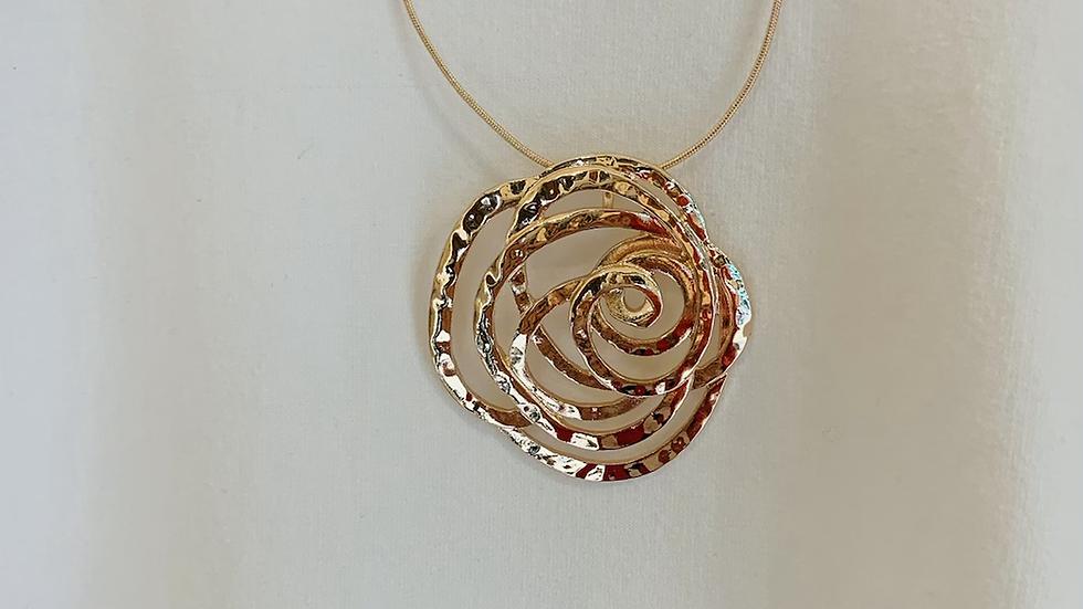 Open Rose Pendant Long Chain Necklace