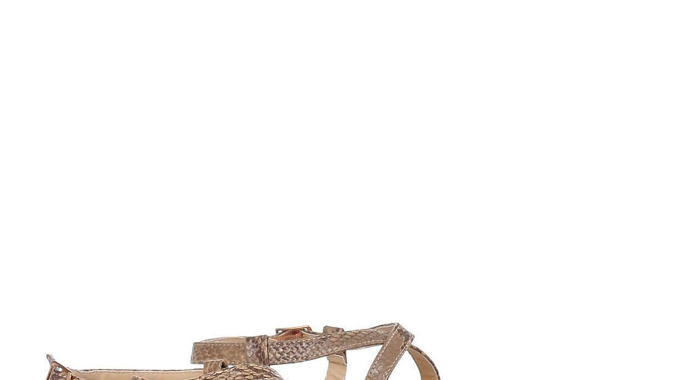 Wide Fit Snake Ankle Strap Flat Sandals