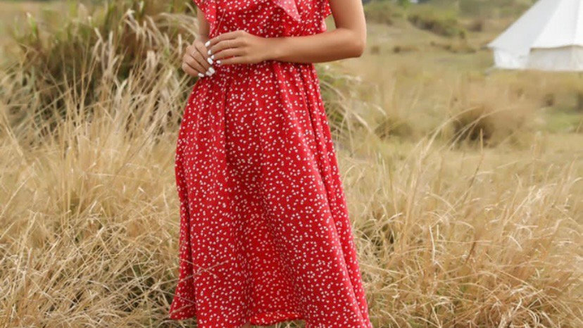 Red And White Heart Midi Dress