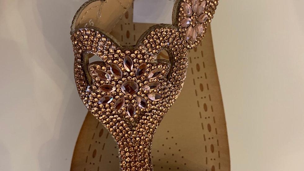 Diamond Encrusted Rose Gold Wedge Sandals