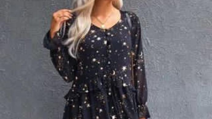 Black And Gold Star Dress